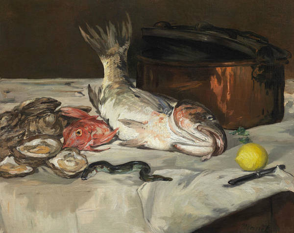 Wall Art - Painting - Fish - Still Life by Edouard Manet