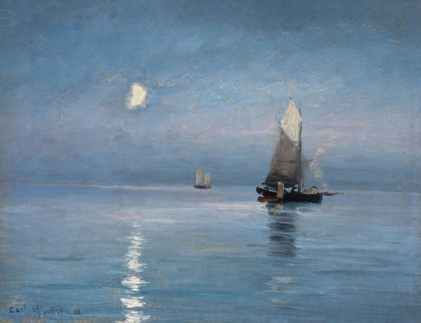 Painting - Fishing Cutters In The Moonlit Night by Carl Locher