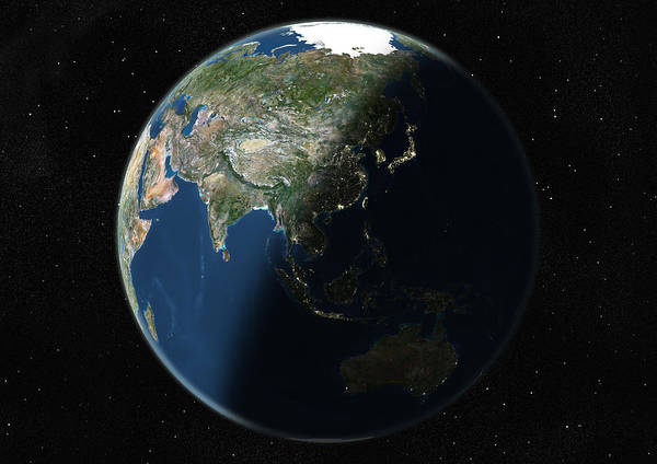 Wall Art - Photograph - Globe Centred On Asia And Oceania, True by Uig