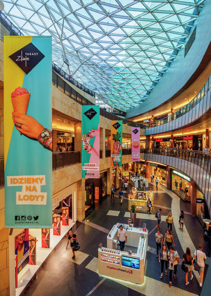 Wall Art - Photograph - Golden Terraces Shopping Mall Interior City Center Warsaw Masovian Voivodeship Poland by imageBROKER - Karol Kozlowski
