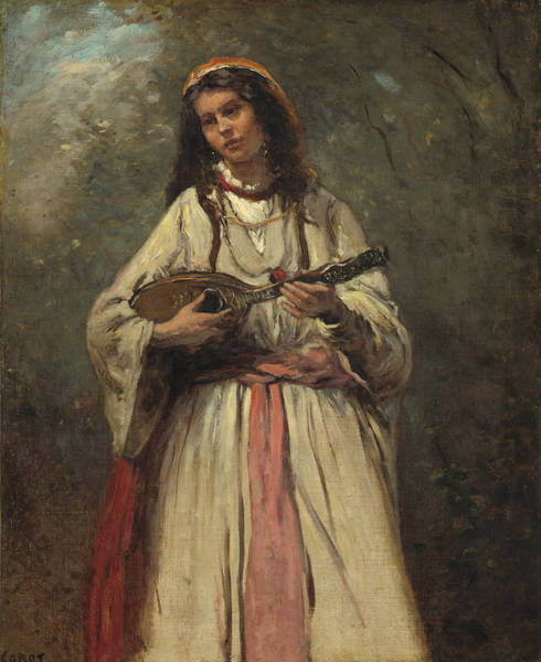 Wall Art - Painting - Gypsy Girl With Mandolin by Jean-Baptiste-Camille Corot