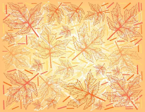Wall Art - Drawing - Hand Drawn Background Of Autumn Maple Leaves by Iam Nee