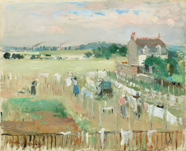 Wall Art - Painting - Hanging The Laundry Out To Dry by Berthe Morisot