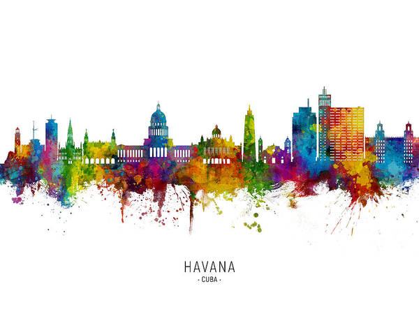 Havana Wall Art - Digital Art - Havana Cuba Skyline by Michael Tompsett