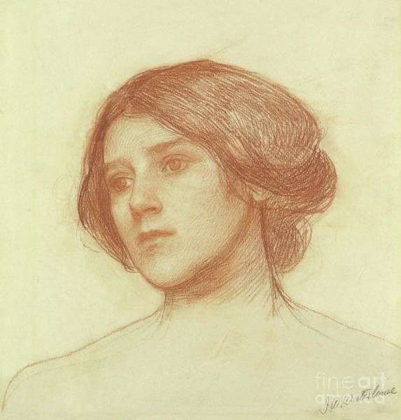 Wall Art - Drawing - Head Of A Girl by John William Waterhouse