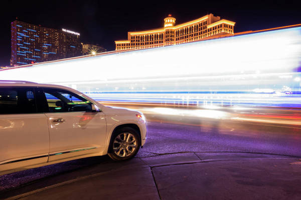 Photograph - High Energy Electric Long Exposure Of Las Vegas City Streets At  by Alex Grichenko