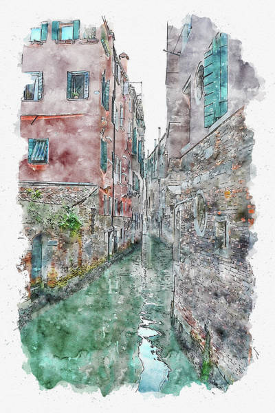 Wall Art - Digital Art - Italy #watercolor #sketch #italy #venice by TintoDesigns