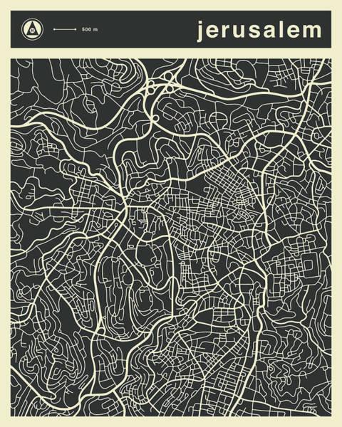 Israel Digital Art - Jerusalem Map by Jazzberry Blue