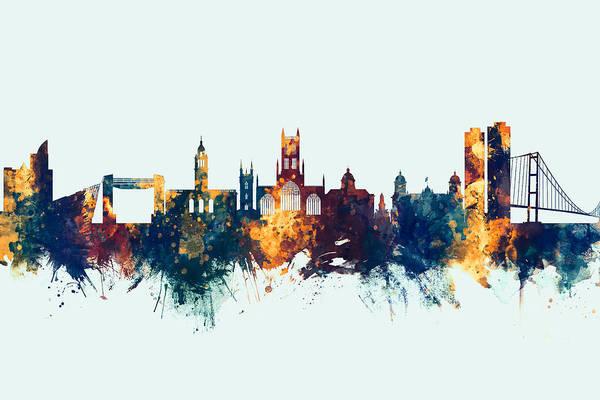 Digital Art - Kingston Upon Hull England Skyline by Michael Tompsett