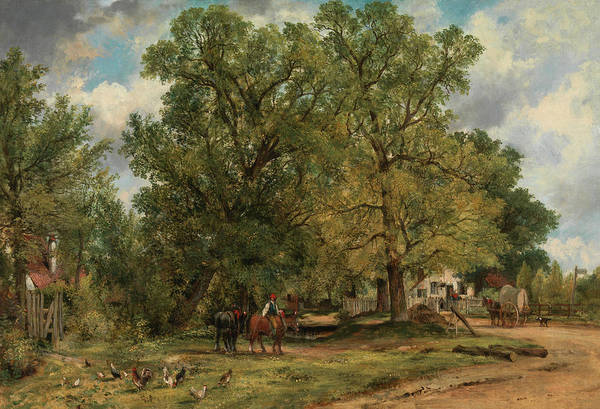 Wall Art - Painting - Landscape With Cottages by Frederick W Watts