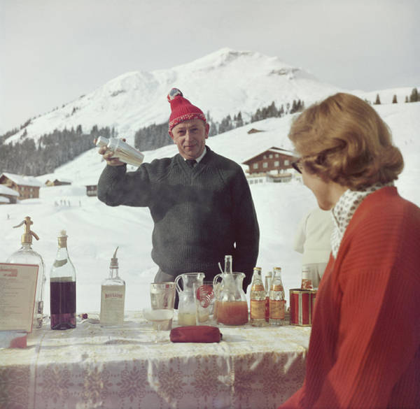 Bar Counter Photograph - Lech Ice Bar by Slim Aarons