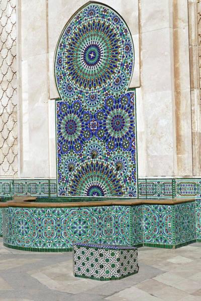 Photograph - Mosaic Exterior Decorations Of The Hassan II Mosque by Steve Estvanik