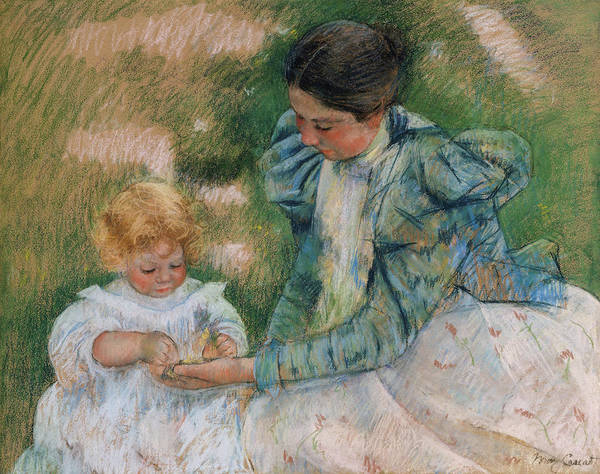 Wall Art - Painting - Mother Playing With Child by Mary Cassatt