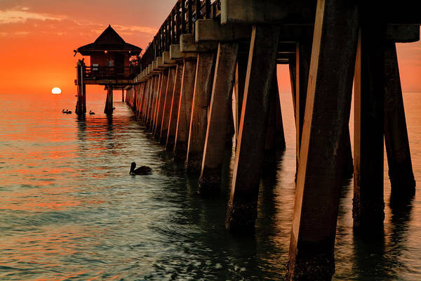 Wall Art - Photograph - Naples Pier At Sunset And Gulf by Adam Jones