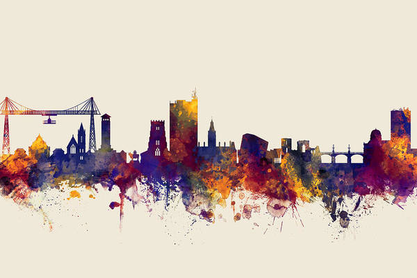 Wall Art - Digital Art - Newport Wales Skyline by Michael Tompsett