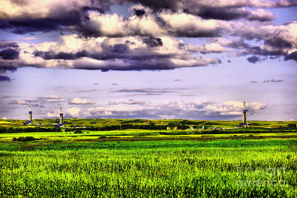 Wall Art - Photograph - 3 Oil Rigs Near Keene North Dakota by Jeff Swan