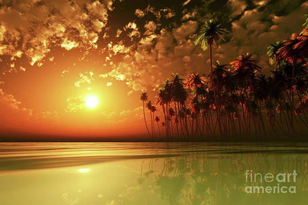 Wall Art - Photograph - Orange Sunset Over Tropic Sea by Aleksey Tugolukov