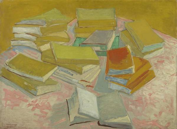 Post Modern Painting - Piles Of French Novels by Vincent Van Gogh