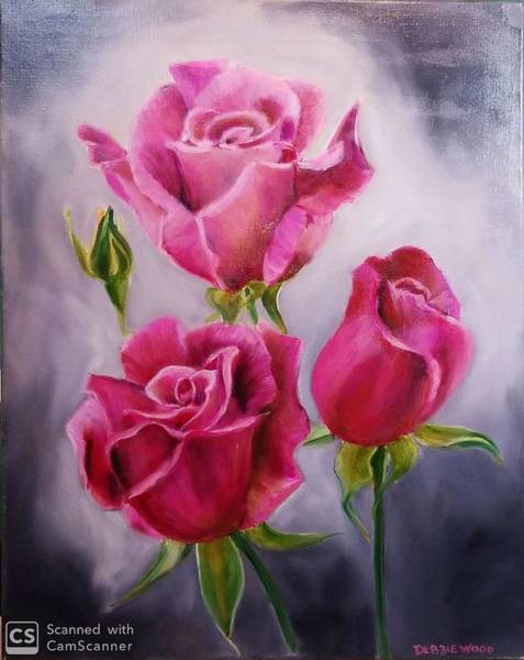 Wall Art - Painting - 3 Pink Roses by Debbie Wood