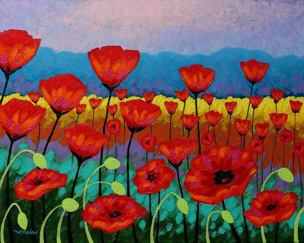 Wall Art - Painting - Field Of Poppies by John  Nolan