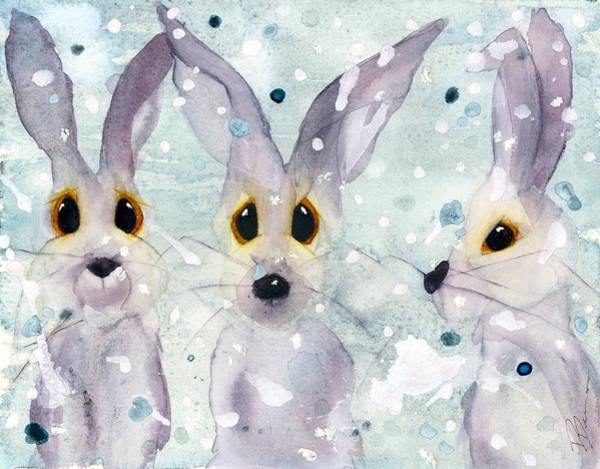 Painting - 3 Rabbits In The Snow by Dawn Derman