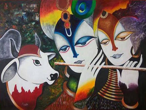 Wall Art - Painting - Radha Krishna With Flute by Vishal Gurjar