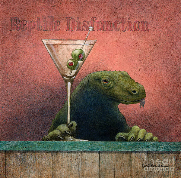 Bar Scene Painting - Reptile Disfunction by Will Bullas