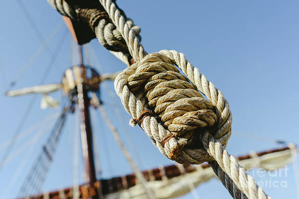 Rigging And Ropes On An Old Sailing Ship To Sail In Summer. Art Print