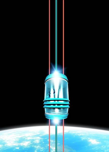 Space Exploration Digital Art - Space Elevator, Artwork by Victor Habbick Visions