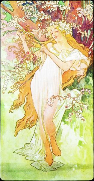 Painting - Spring by Alphonse Mucha