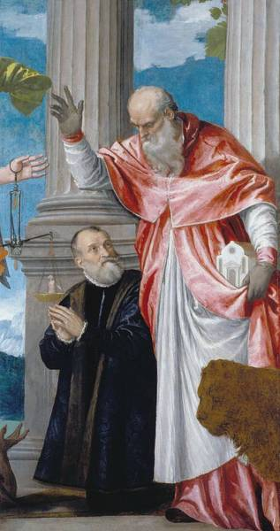 Wall Art - Painting - St Jerome And A Donor  by Paolo Veronese