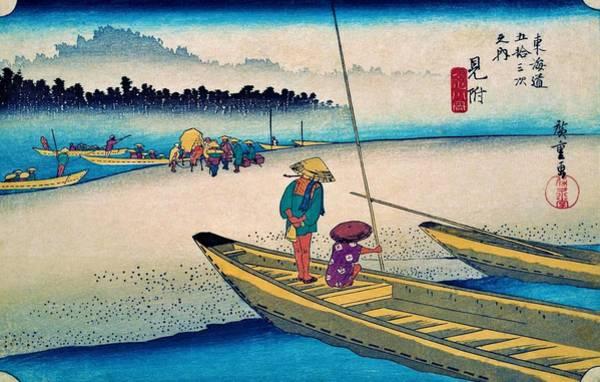 Transporter Wall Art - Painting - 53 Stations Of The Tokaido - Mitsuke, Tenryu River by Utagawa Hiroshige