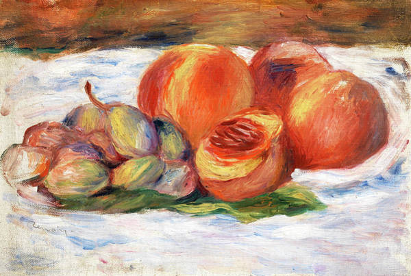 Wall Art - Painting - Still Life With Peaches by Pierre-Auguste Renoir