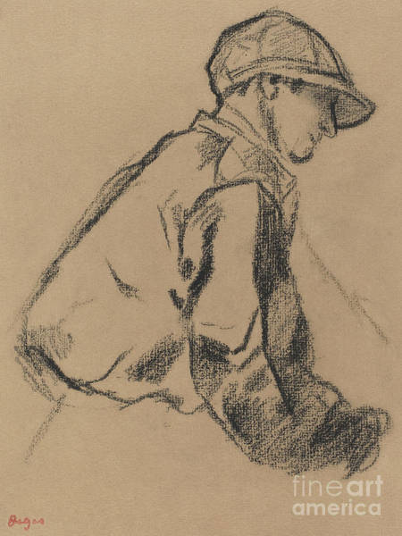 Wall Art - Drawing - Study Of A Jockey by Edgar Degas