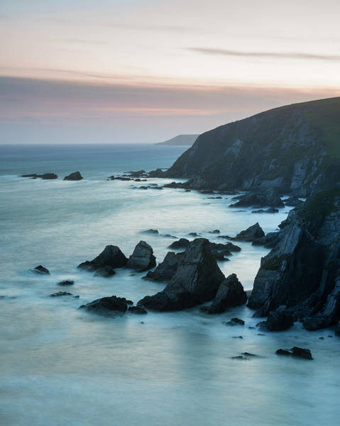 Wall Art - Photograph - Stunning Sunset Landscape Image Of Westcombe Beach In Devon Engl by Matthew Gibson