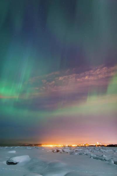 The Northern Lights Shine Above The Art Print
