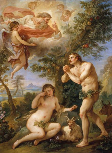 Painting - The Rebuke Of Adam And Eve by Charles Joseph Natoire