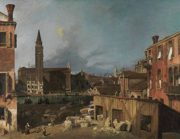 Church Yard Painting - The Stonemason's Yard by Canaletto