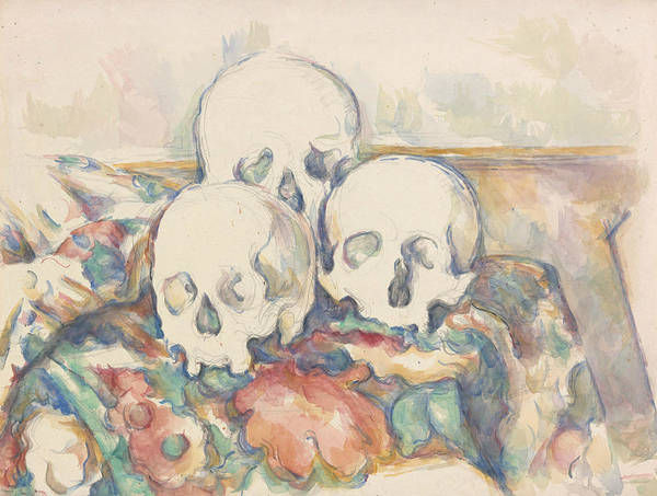 Drawing - The Three Skulls by Paul Cezanne