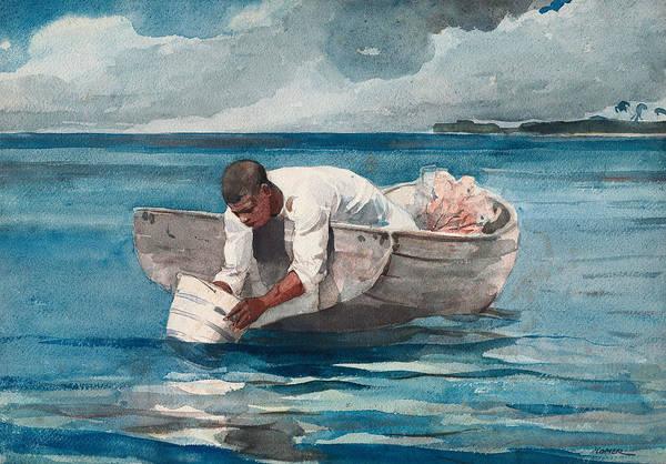 Wall Art - Drawing - The Water Fan by Winslow Homer