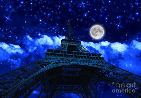 Photograph - Tour Eiffel At Night With Fullmoon by Benny Marty