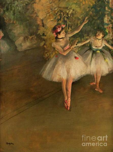 Painting - Two Dancers On A Stage by Edgar Degas