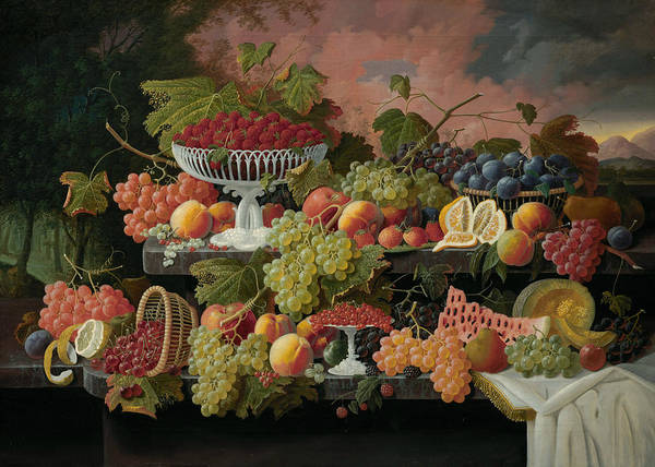 Painting - Two-tiered Still Life With Fruit And Sunset Landscape by Severin Roesen