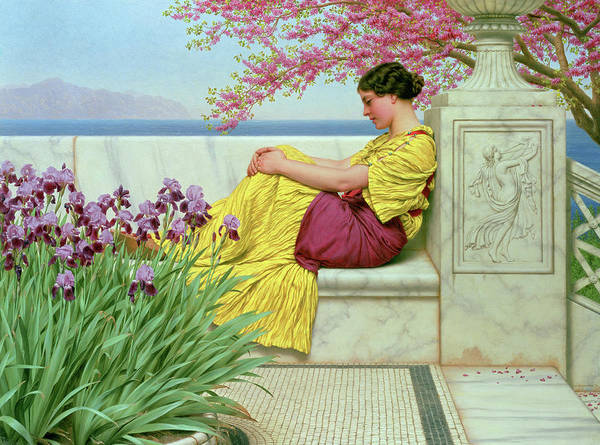 Yellow Ribbon Painting - Under The Blossom That Hangs On The Bough by John William Godward