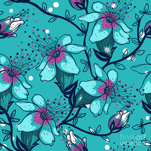Wall Art - Digital Art - Vector Floral Seamless Pattern With by Anna Paff