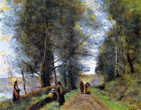 Wall Art - Painting - Ville D'avray, Woodland Path Bordering The Pond -  by Jean-Baptiste Camille Corot
