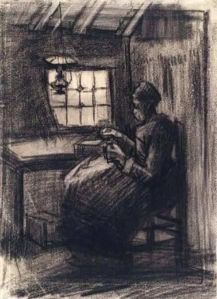 Wall Art - Painting - Woman Reeling Yarn   by Vincent van Gogh