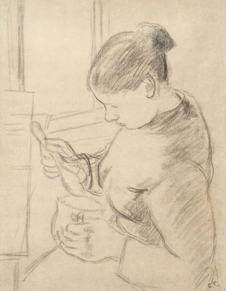 Wall Art - Drawing - Young Peasant Having Her Coffee by Camille Pissarro