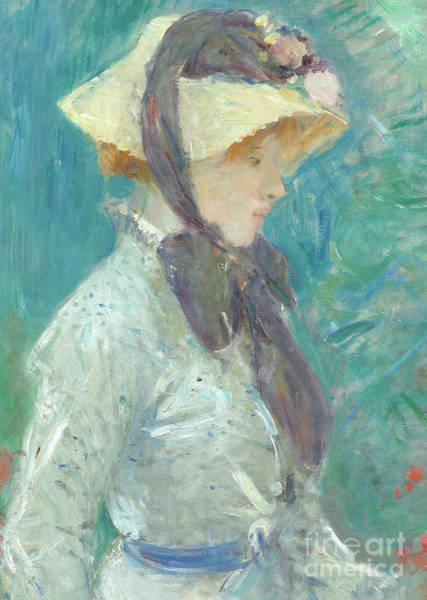 Wall Art - Painting - Young Woman With A Straw Hat by Berthe Morisot