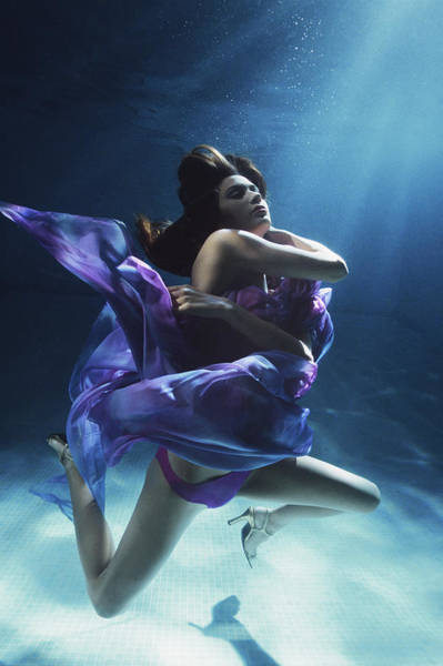 Underwater Photograph - Young Woman Wrapped In Silk, Underwater by Zena Holloway